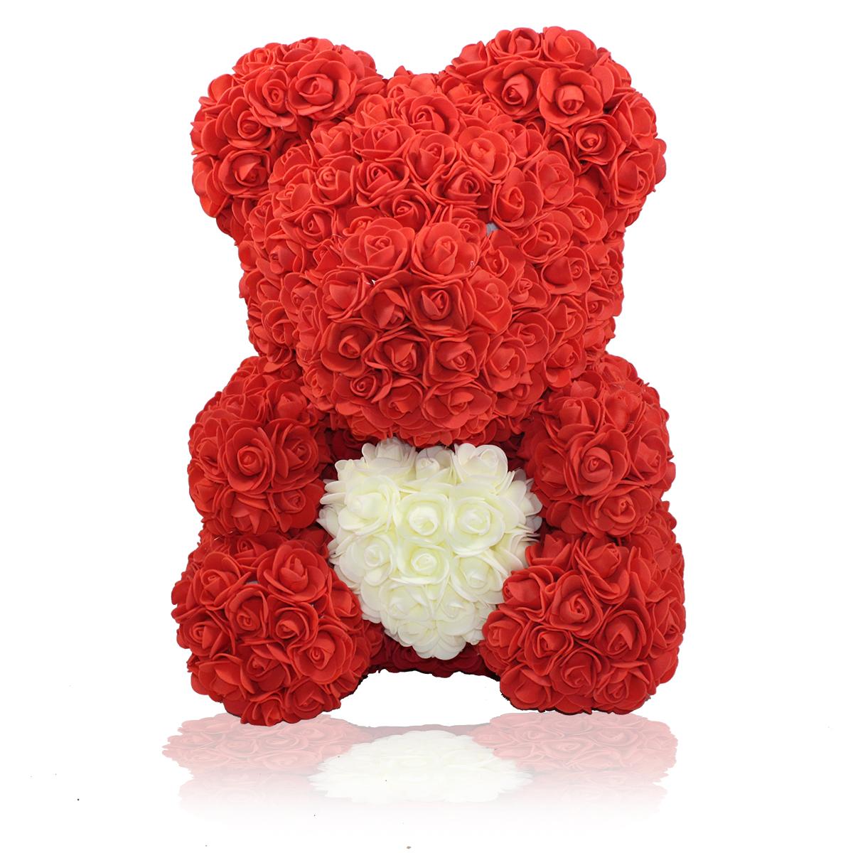 Rosenbär 40 cm inklusive Geschenkbox mit Herz Dunkelroter Rosen für Valentinstag